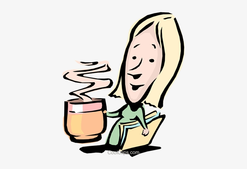 Coffee clipart woman. Cartoon with a cup