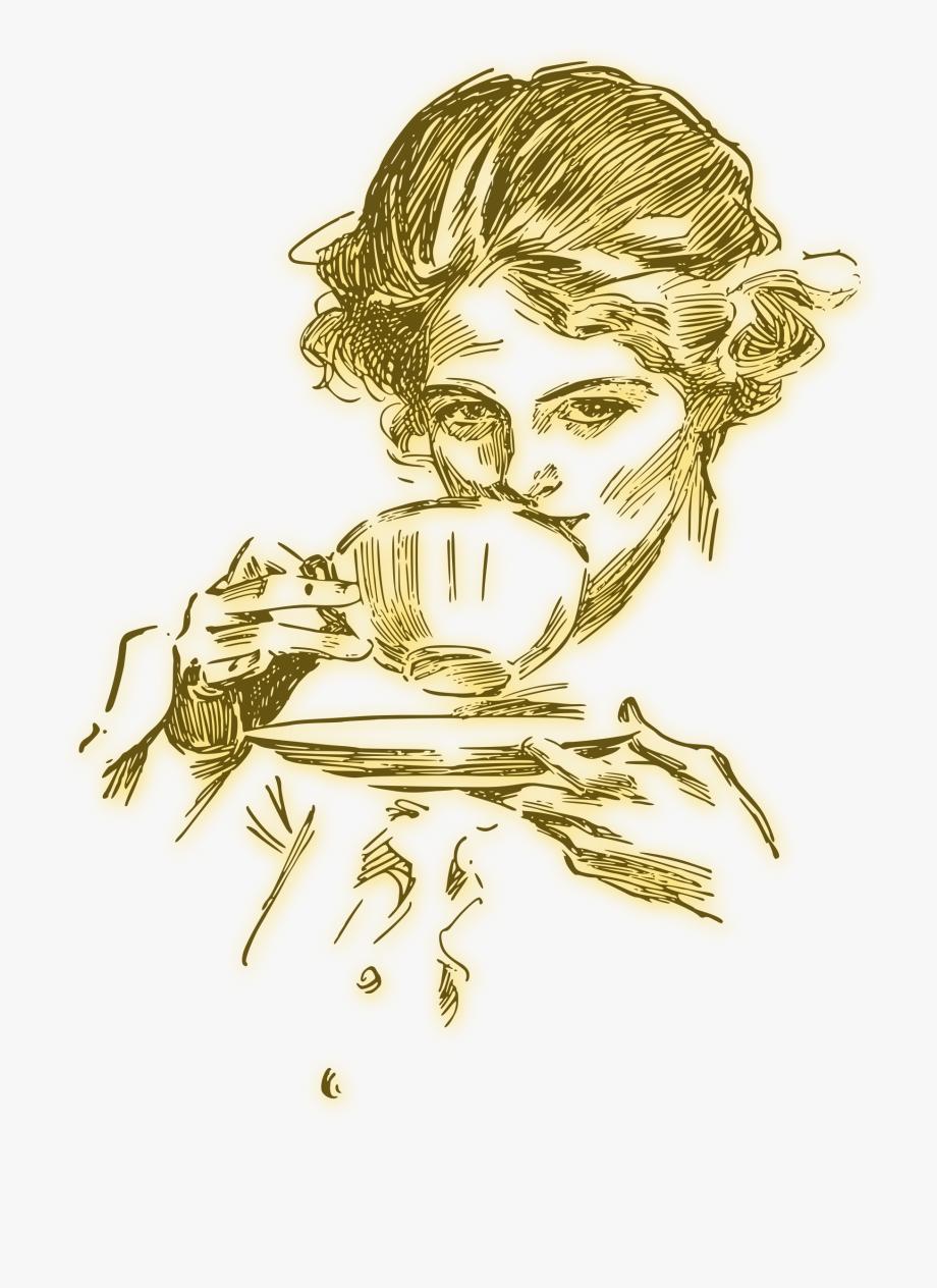 Coffee clipart woman. Drinking illustration tea