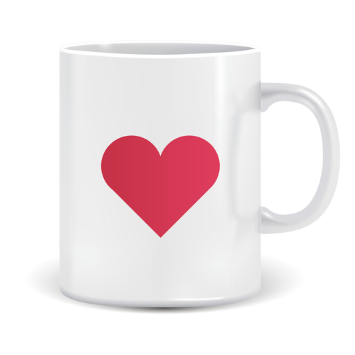 Coffee cup vector png. Mug with heart icon