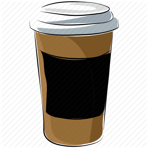 Food colored sketchy collection. Coffee cup vector png