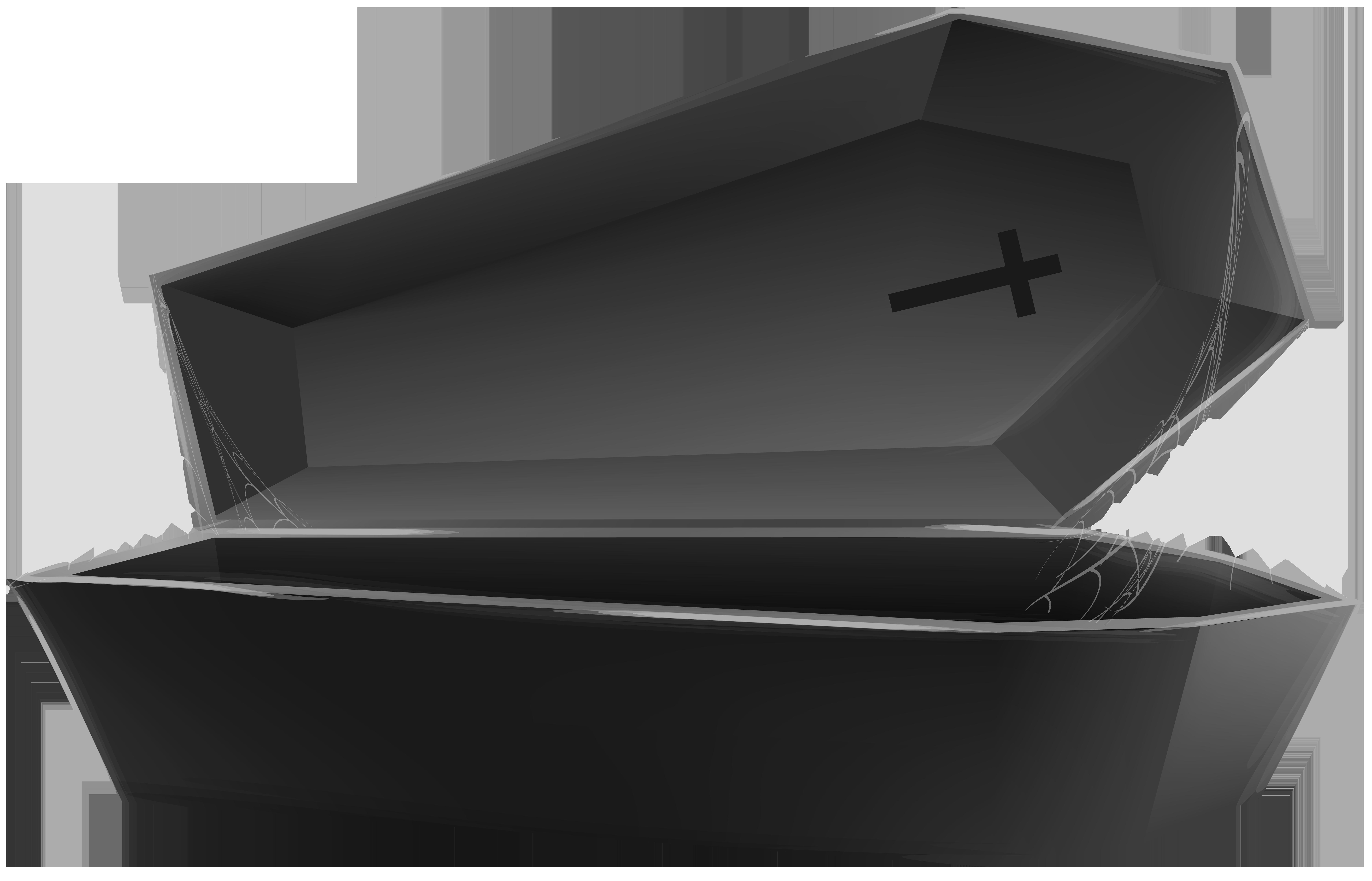 Open black transparent png. Coffin clipart