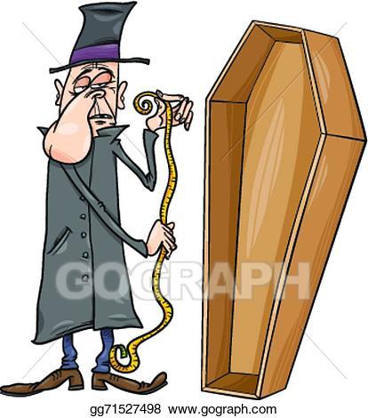Coffin clipart cartoon. Vector undertaker with illustration