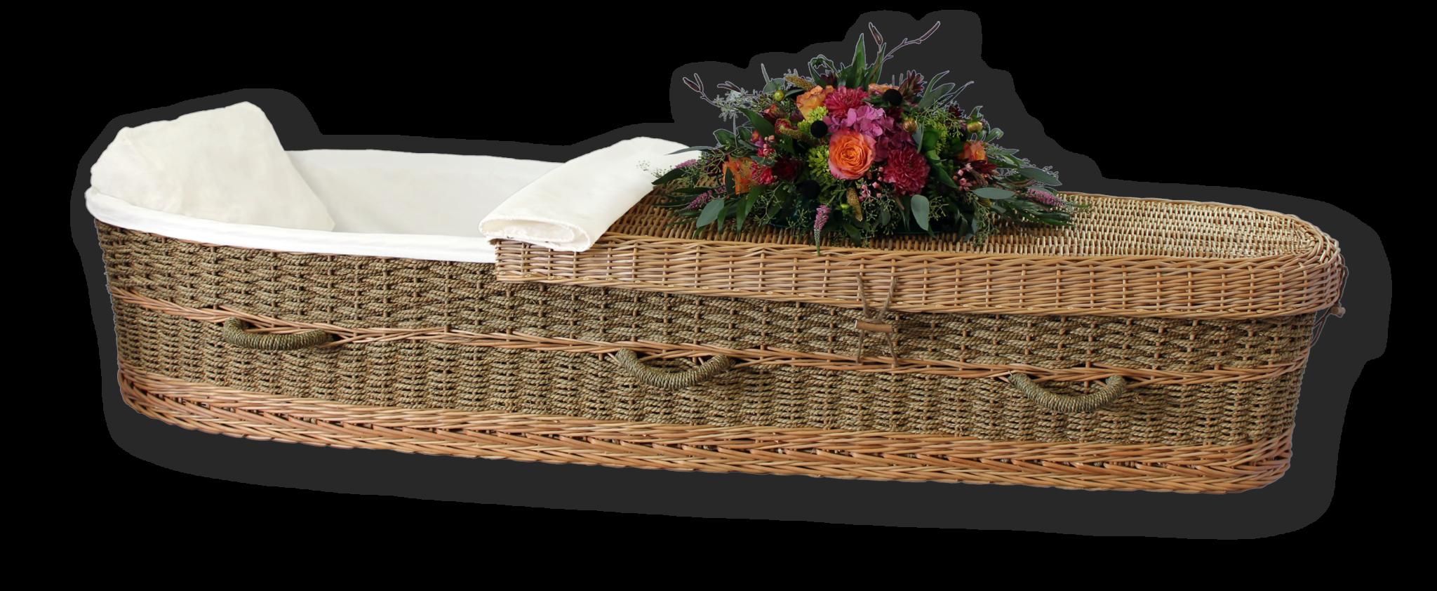 Biodegradable seagrass casket passages. Coffin clipart grave