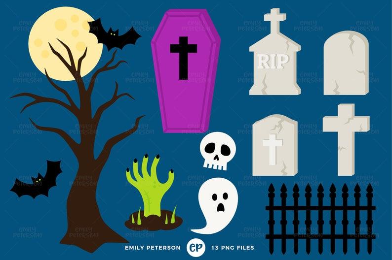 Coffin clipart grave yard. Halloween clip art graveyard