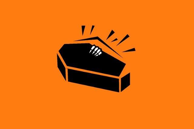 Image of creepyhalloweenimages . Coffin clipart halloween skeleton