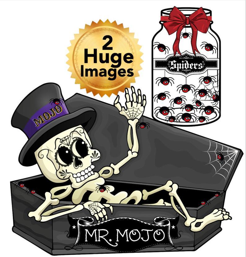 Coffin clipart halloween skeleton. Mr mojo his bottle