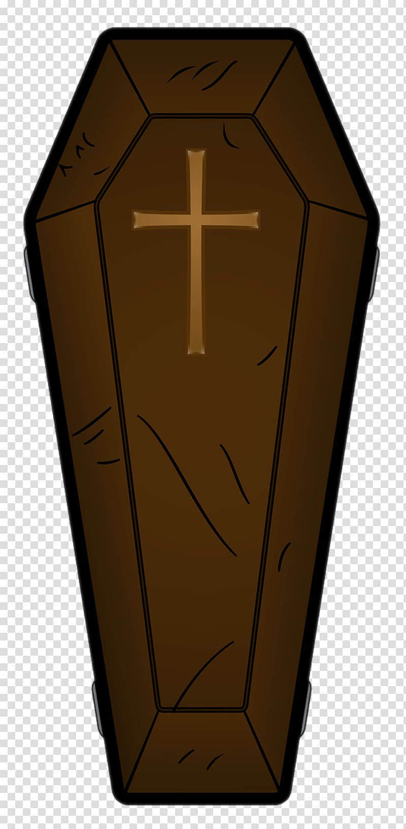 Brown and beige illustration. Coffin clipart transparent background