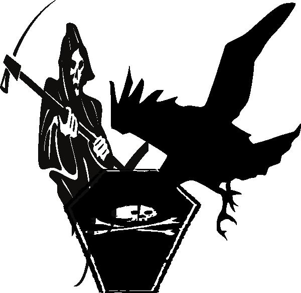 Raven clip art at. Coffin clipart vector