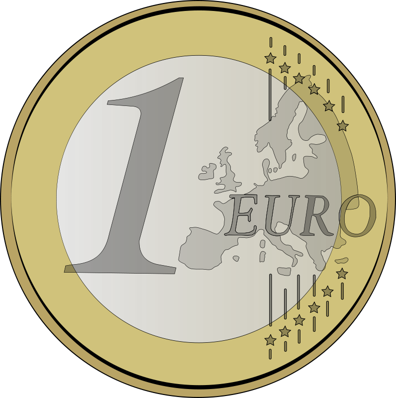 collection of euro. Coin clipart 1 rupee