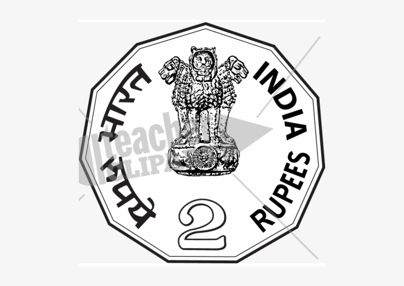Rupees black and white. Coin clipart 2 rupee