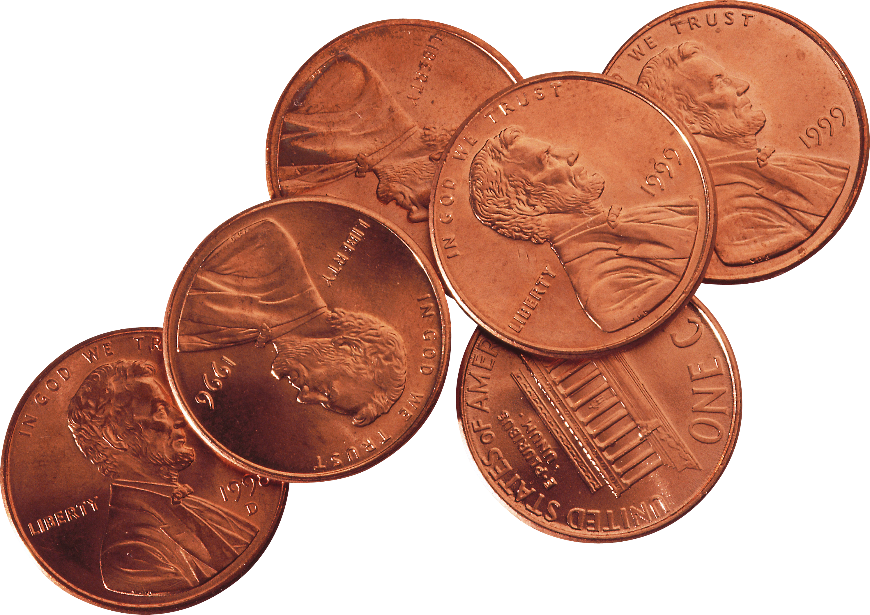 Coin clipart bill coin. One cent coins isolated