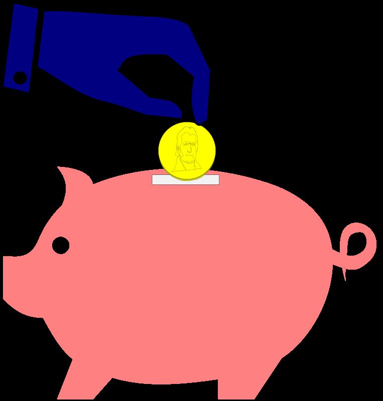 Piggybank hand coin medium. Finance clipart household income