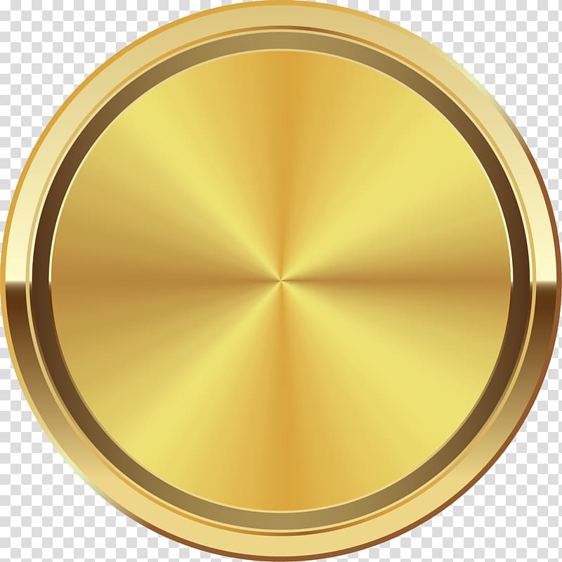 Round gold colored circle. Coin clipart color