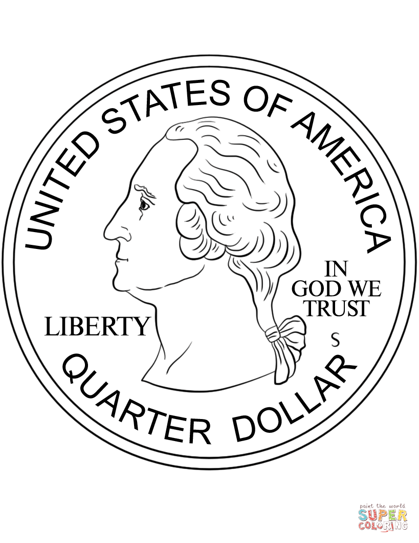 Quarter coloring page free. Coin clipart color