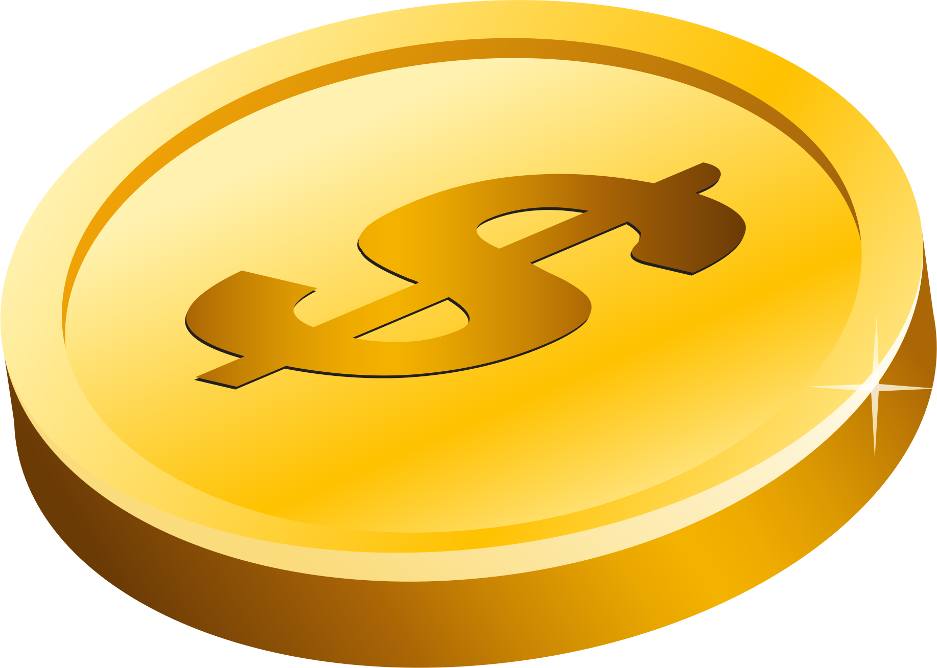 Gold clipart transparent background. Dollar coin big image