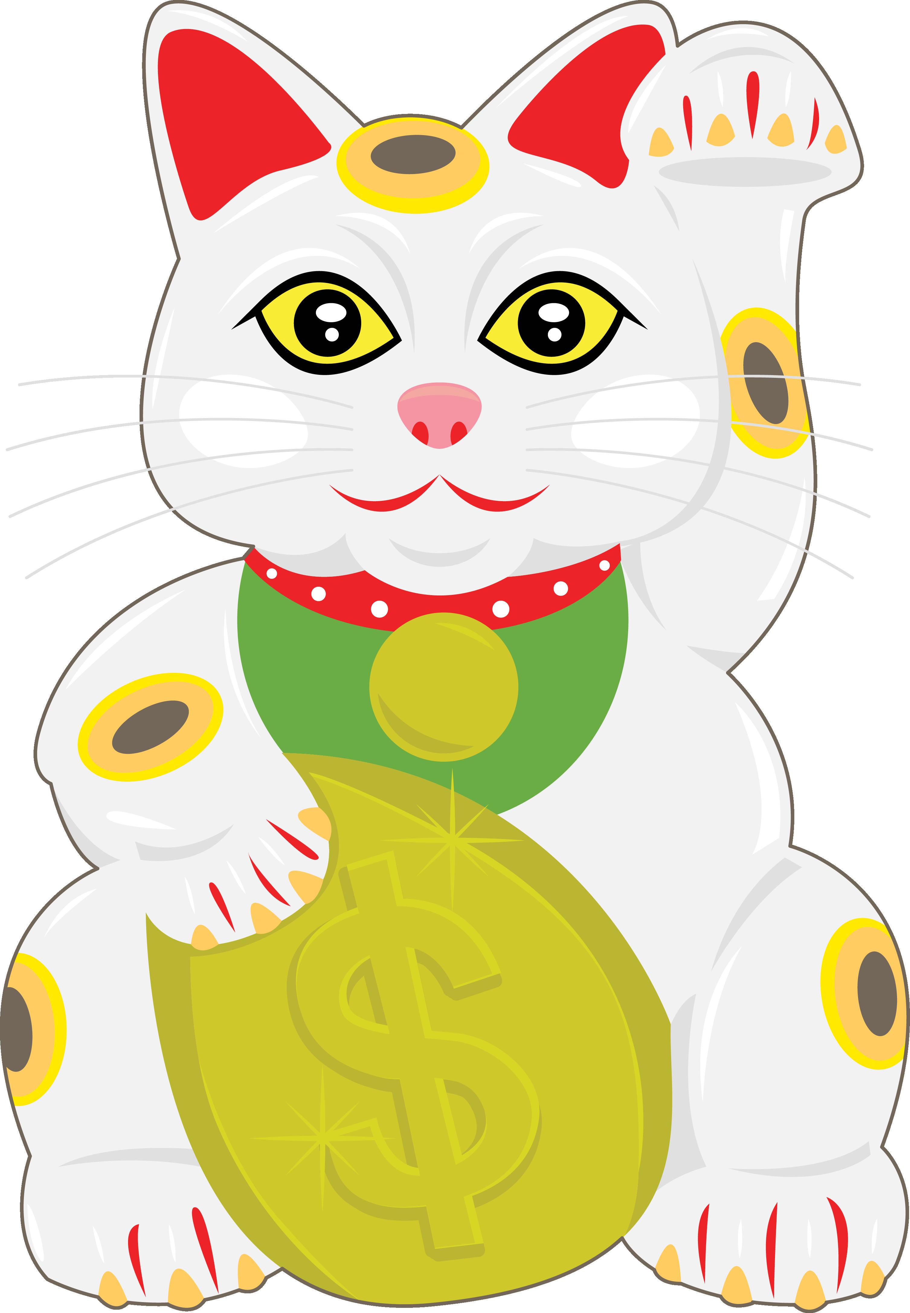 Cat maneki neko luck. Coin clipart drawn