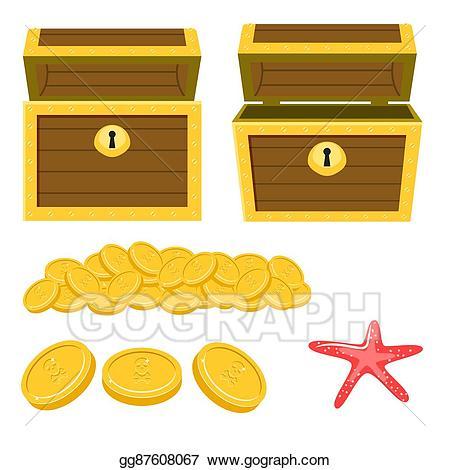 Coin clipart empty gold. Vector art dower chest