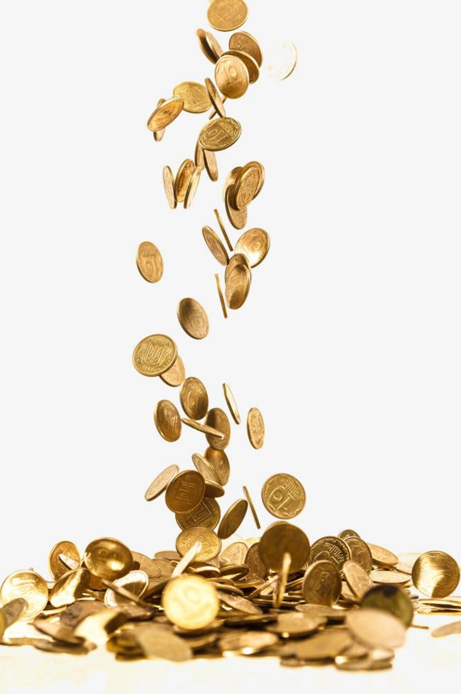 Gold scattered coins png. Coin clipart falling
