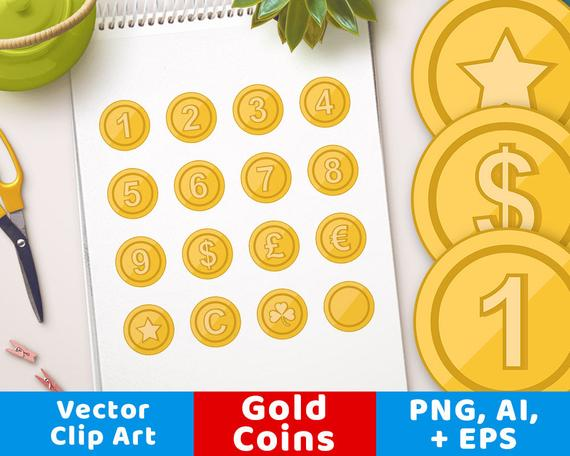 Coins star shamrock number. Coin clipart game gold