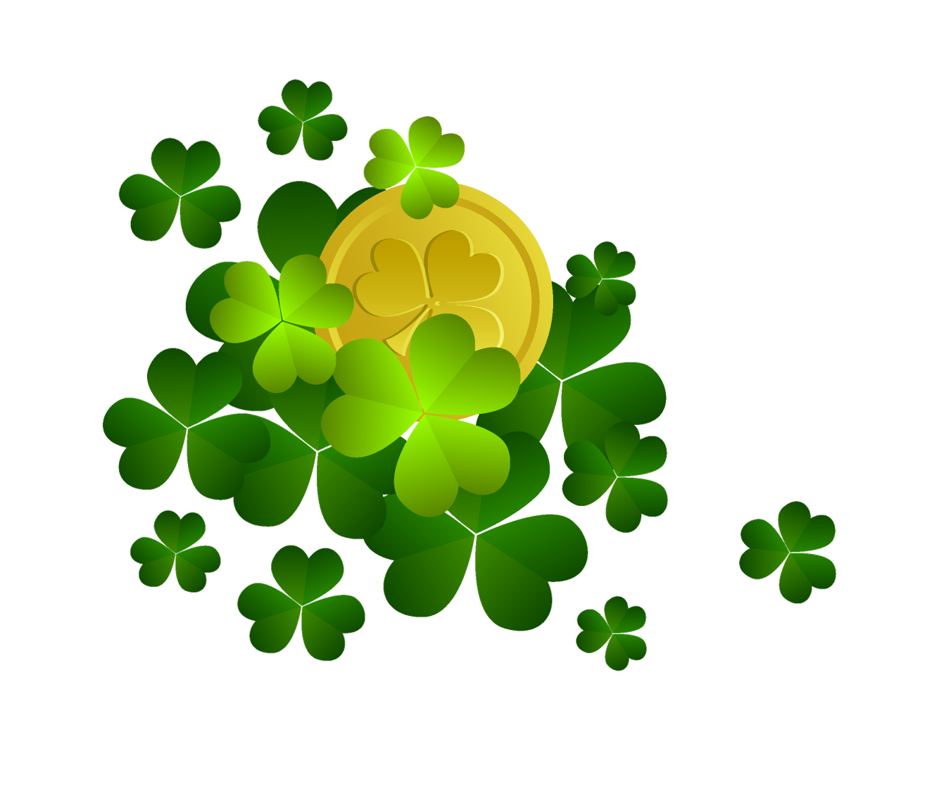 St patricks shamrocks with. Coin clipart green
