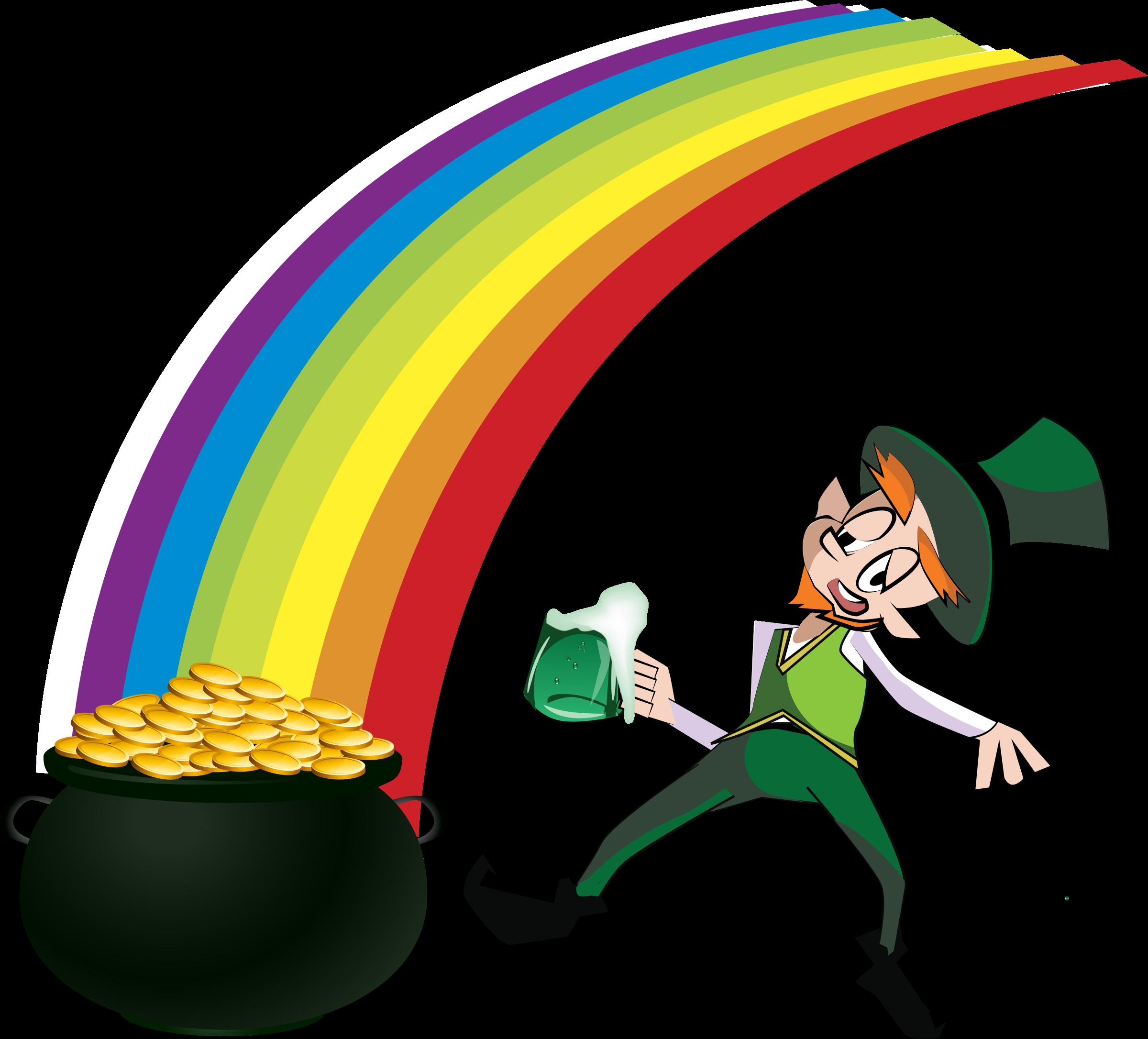 Mushrooms clipart leprechaun. And rainbow big image