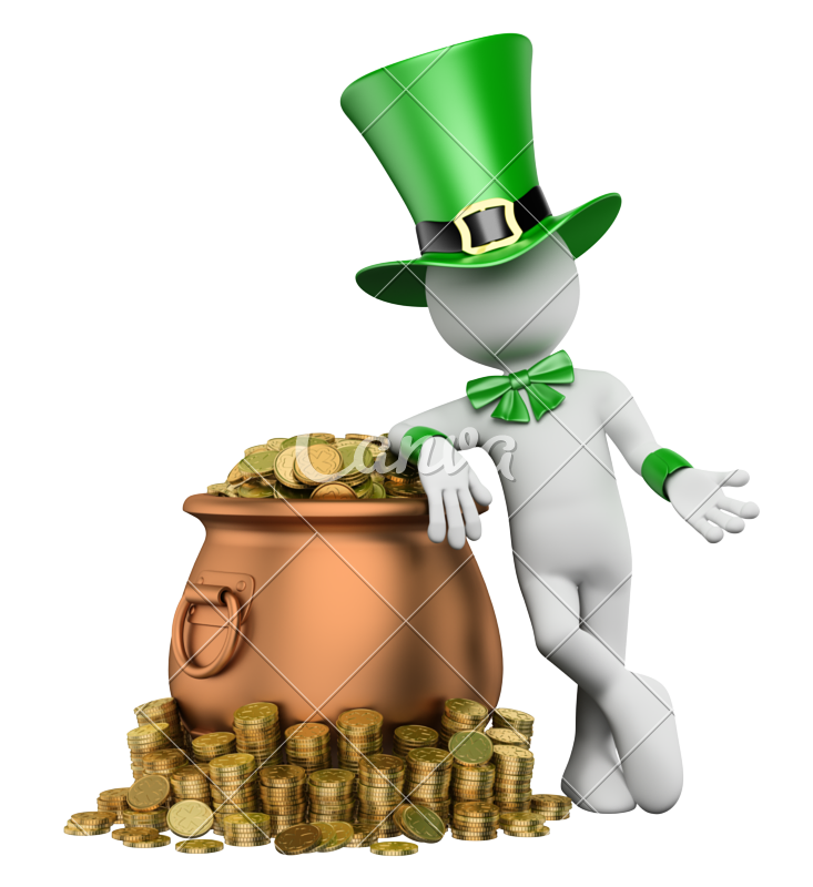 Treasure clipart bag gold coin.  d leprechaun with