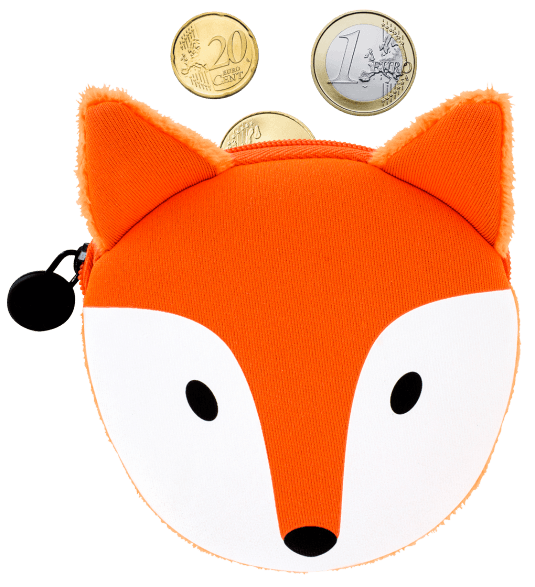 Cat my purse fox. Coins clipart loose change