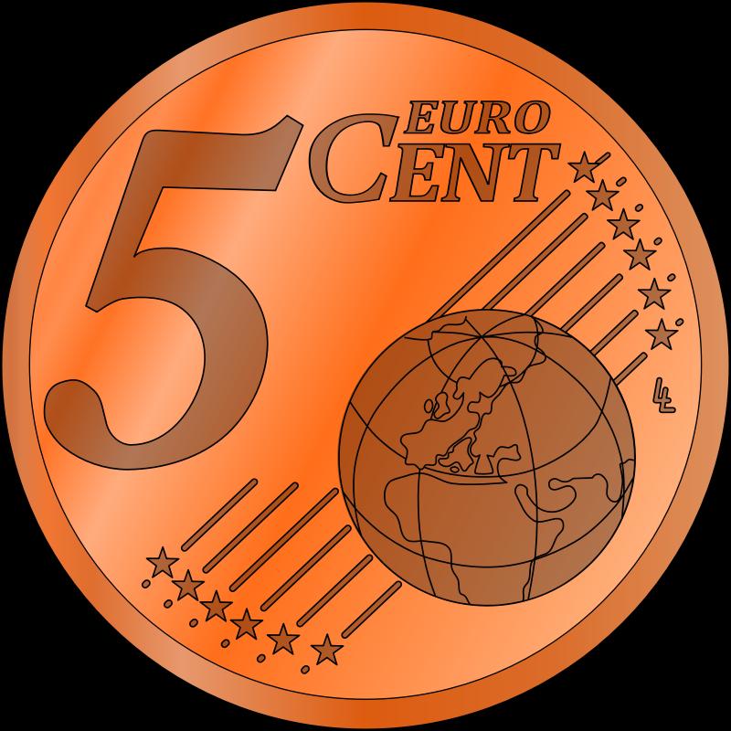 Five euro cent medium. Coin clipart lucky penny