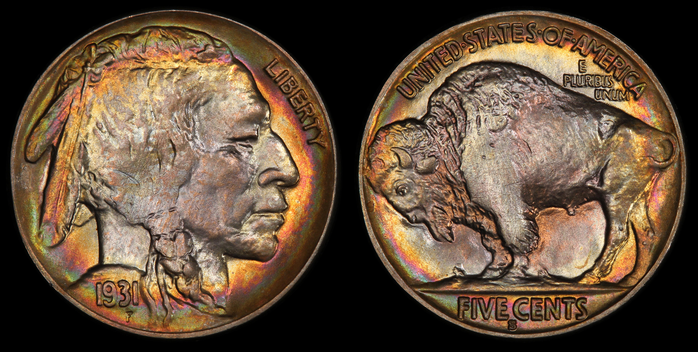 show me a toned buffalo nickel