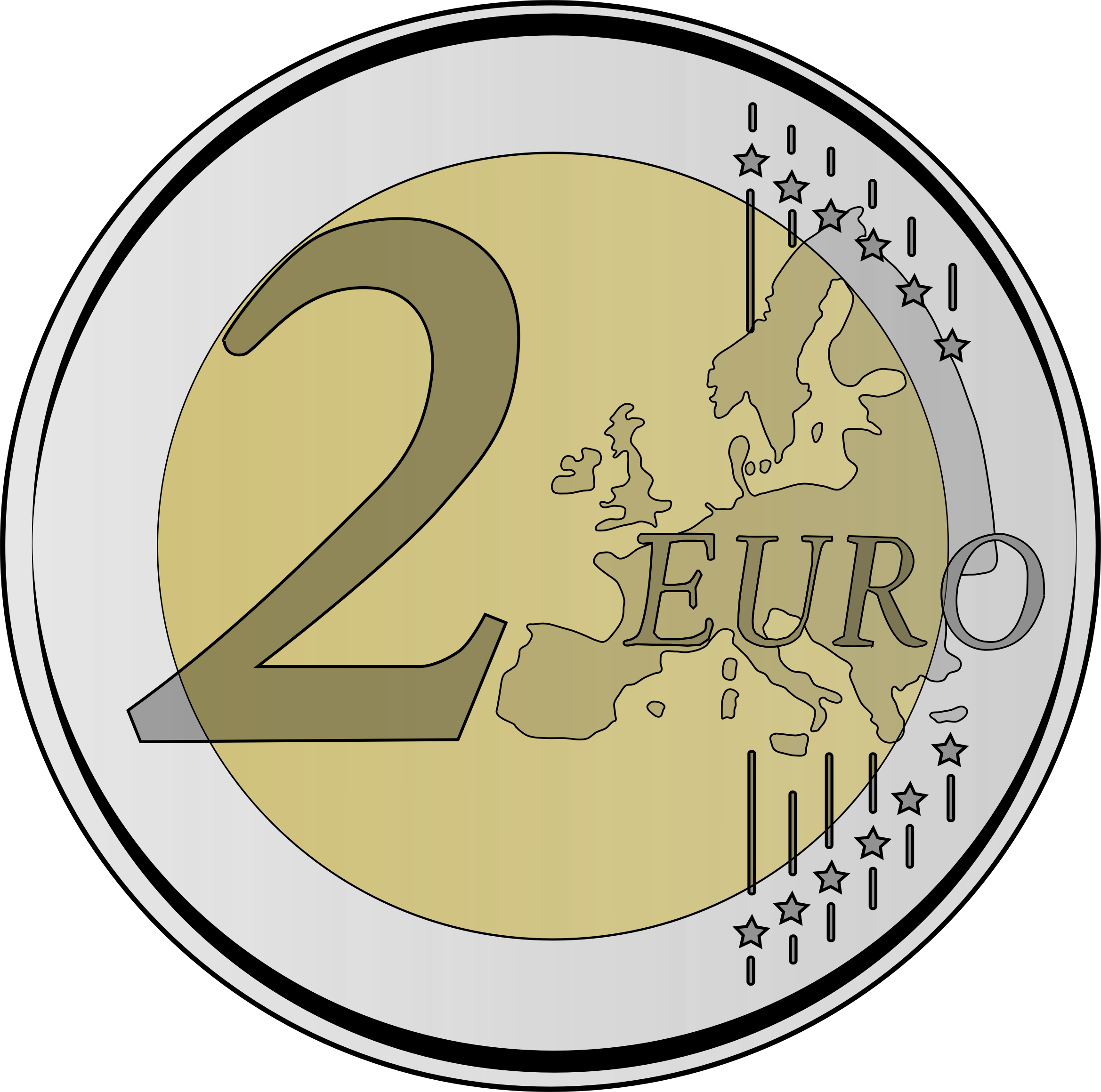 collection of euro. Coin clipart outline
