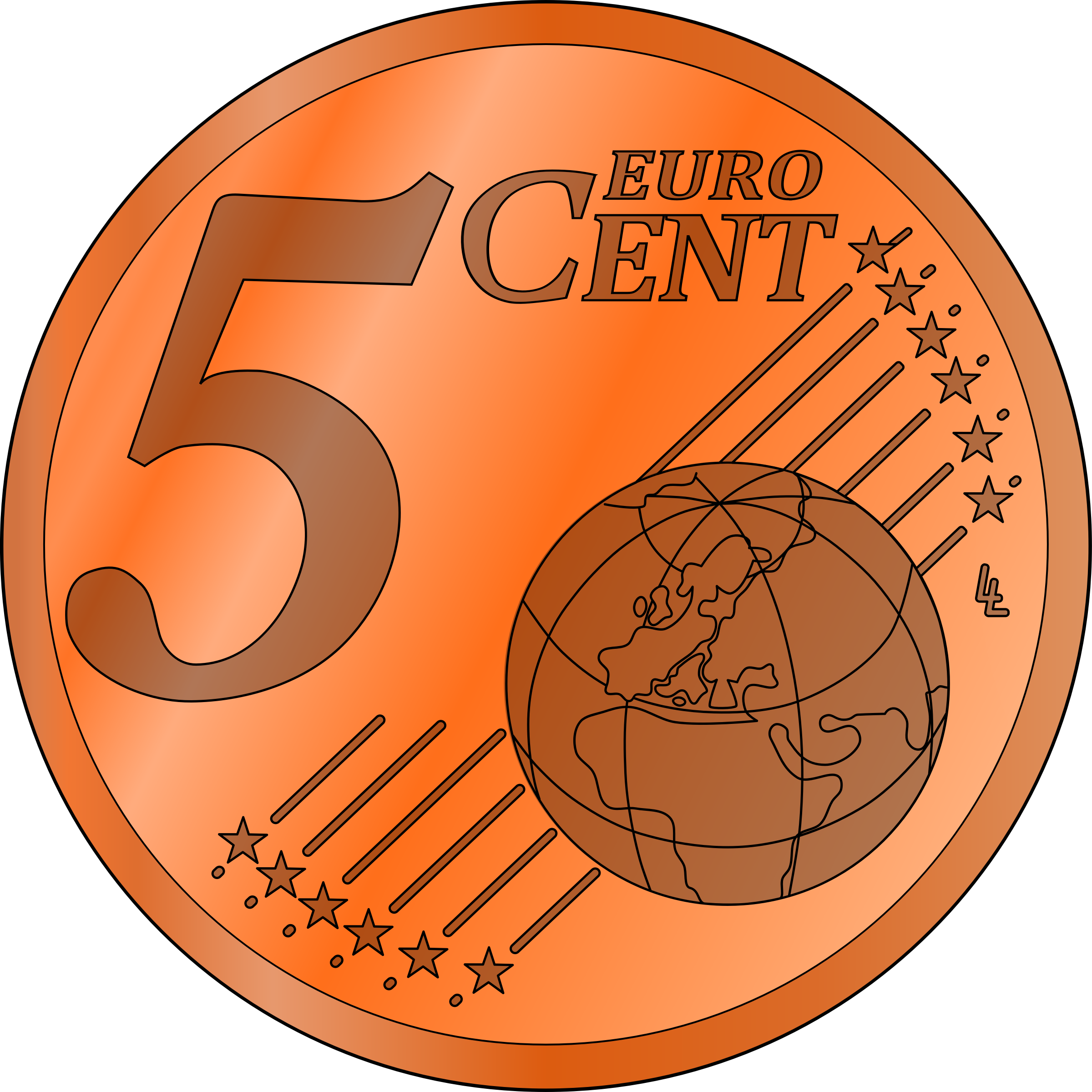 Pennies clipart different kind. Five euro cent big