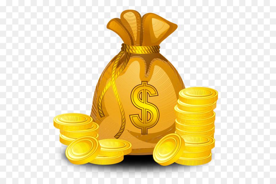 Gold bag transparent clip. Coin clipart sack