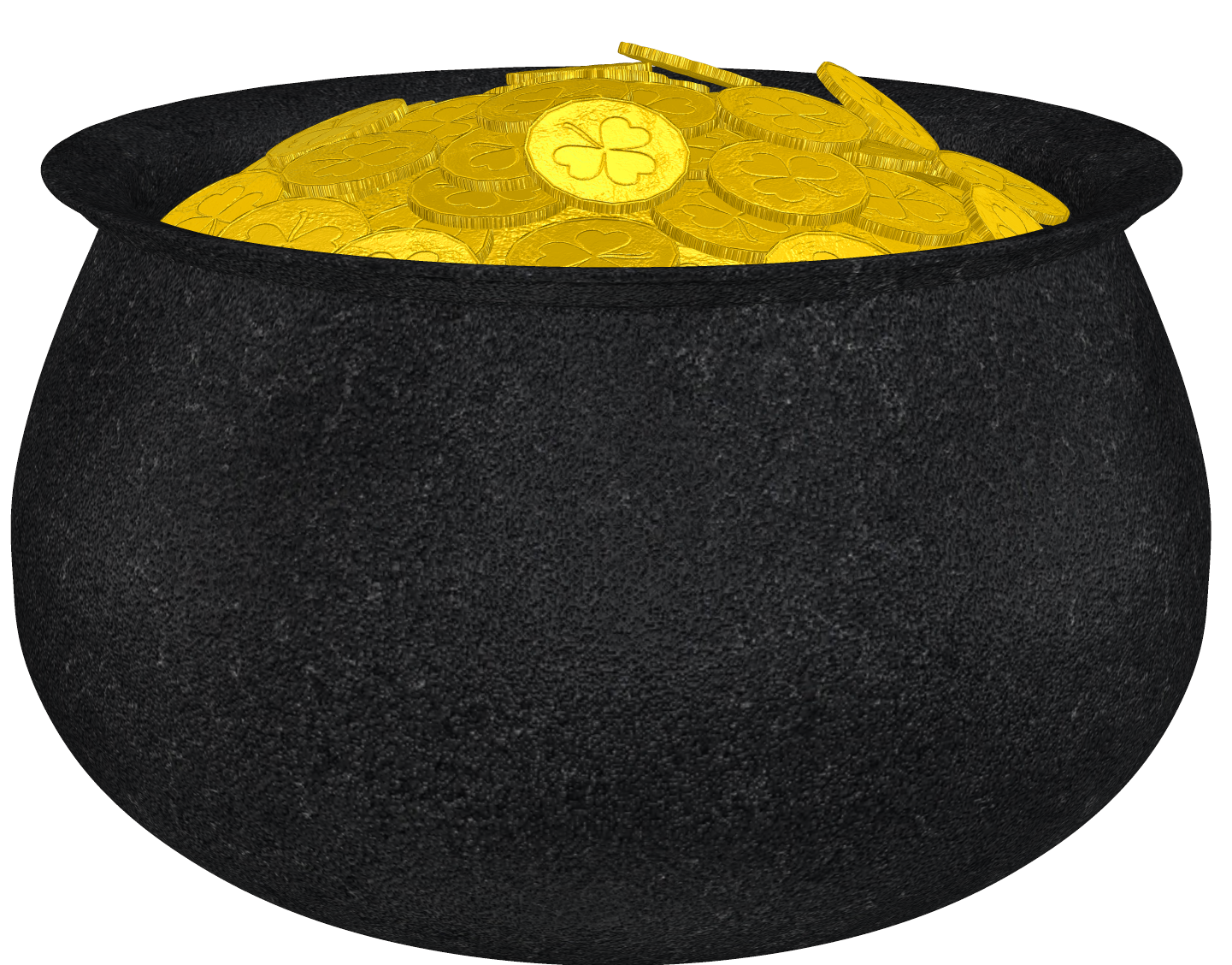 Pot of with shamrock. Gold clipart cartoon