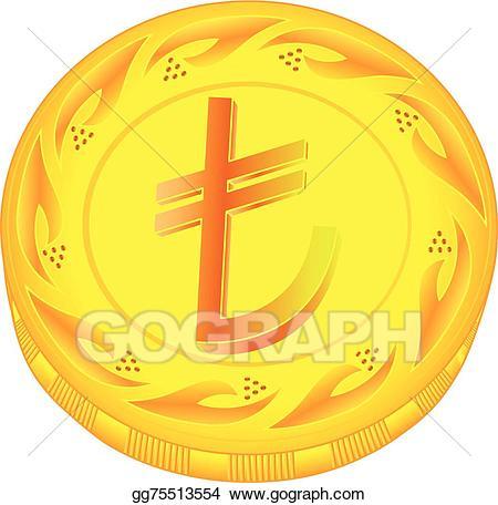 Coins clipart small money. Vector art lira coin