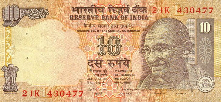 Indian note banknote currency. Coin clipart ten rupee