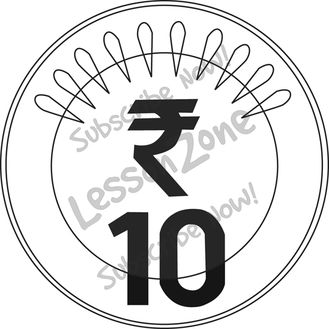 black and white. Coin clipart ten rupee