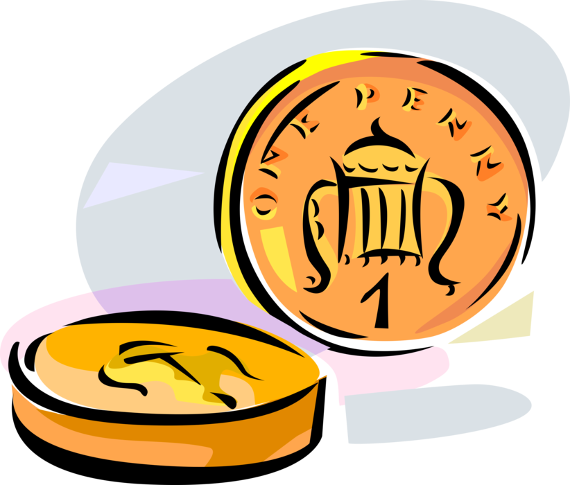 British one penny pence. Coin clipart vector