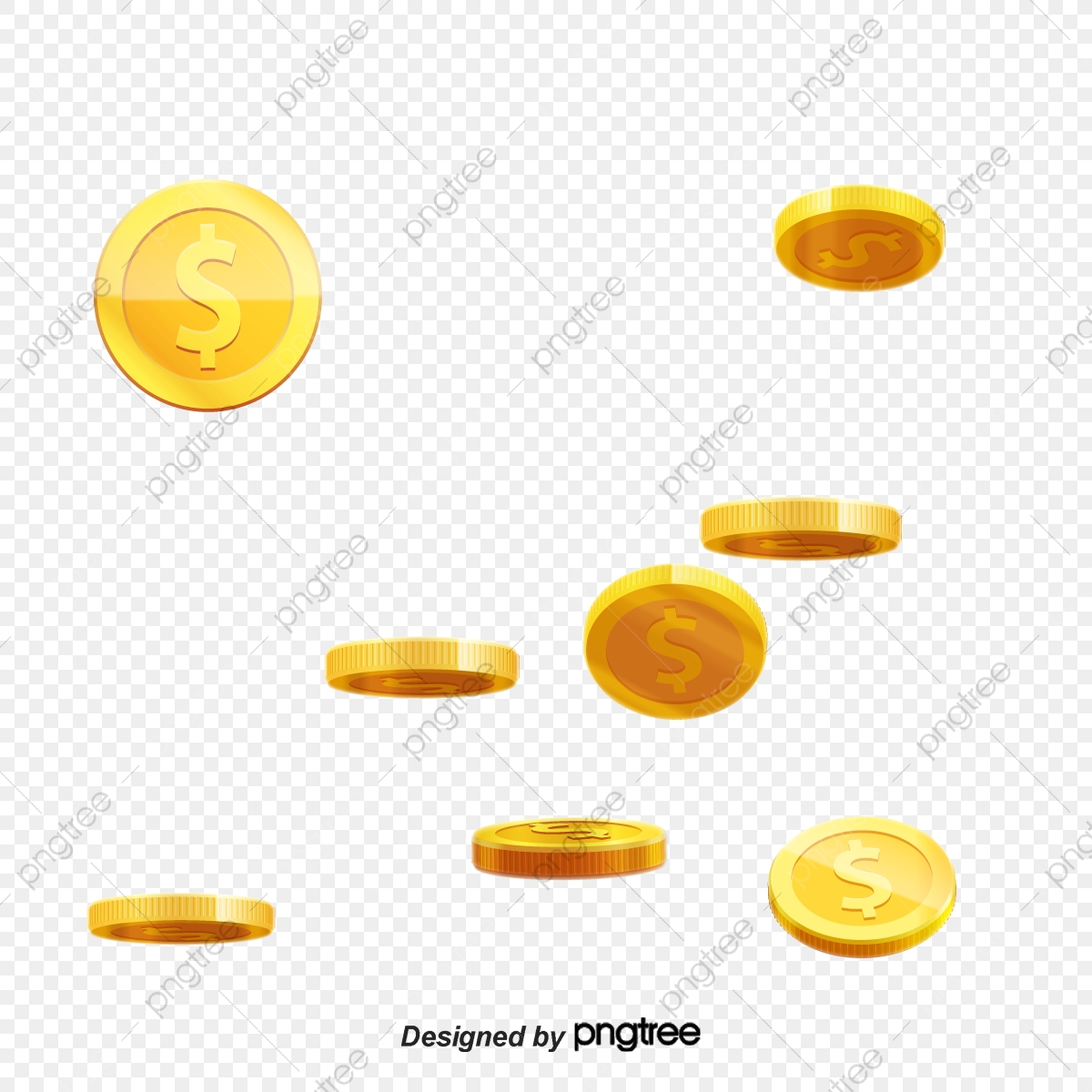 Floating gold material money. Coin clipart vector