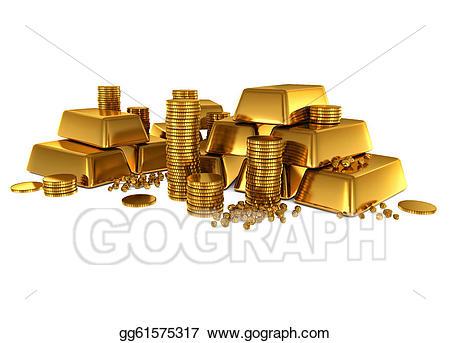 Coins clipart 3d gold. Stock illustration d bars