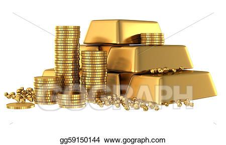 Stock illustration d bars. Coins clipart 3d gold