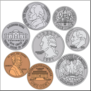 Clip art coin set. Coins clipart