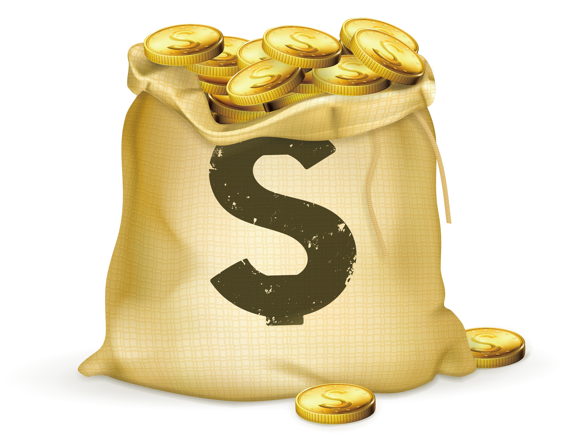 Gold coin stock photography. Coins clipart bag full money