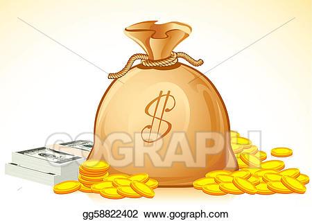 Coins clipart bag full money. Vector illustration of stock