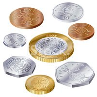 Coins clipart coin uk. Side view stock vectors