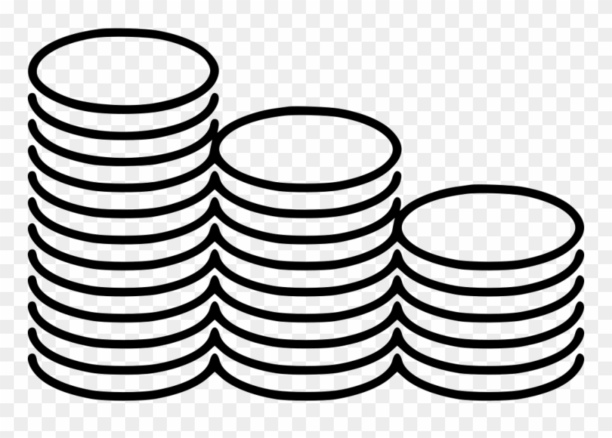 Stacks svg png icon. Coins clipart line