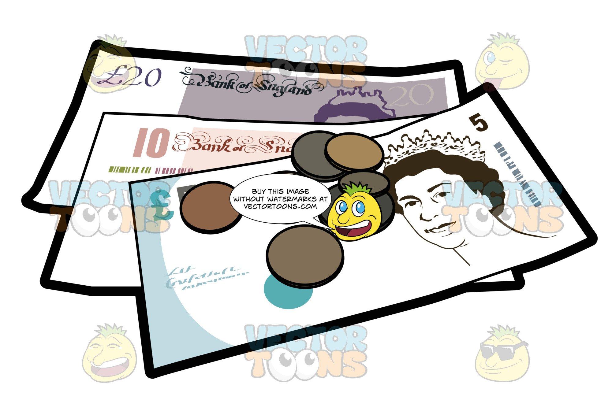 Brit pound bank notes. Coins clipart money british