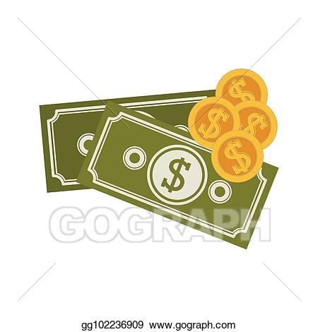 Vector art with bills. Coins clipart silhouette