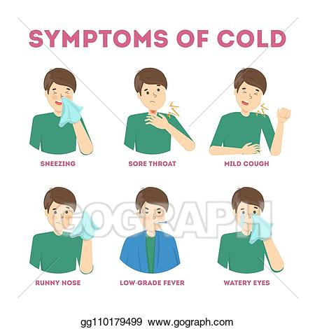 Flu clipart coughing. Vector cold and symptoms