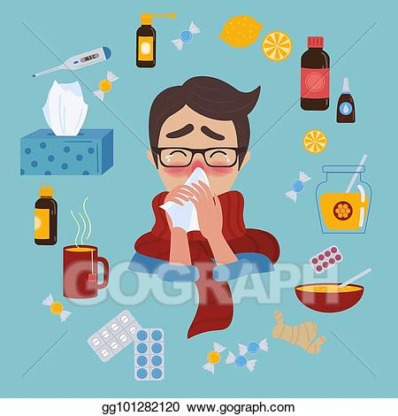 Vector young caught cold. Flu clipart ill man