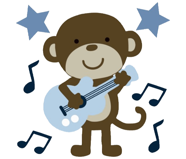 Animal print baby shower. Monkey clipart character